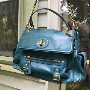 Vintage Marine Blue Coach leather satchel